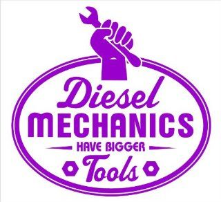"""Diesel Mechanics Have Bigger Tools Funny Decal Sticker Laptop, Notebook, Window, Car, Bumper, EtcStickers 4""""in. in PURPLE Exterior Window Sticker with"""