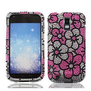 Samsung Galaxy S II S2 S 2 / SGH T989 T Mobile TMobile / Hercules Cell Phone Full Crystals Diamonds Bling Protective Case Cover Silver and Pink Floral Flowers Design Cell Phones & Accessories