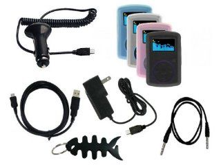 9 items Bundle Accessories for Sandisk Sansa Clip 1GB, 2GB, 4GB(includes: Black / Clear / Blue / Pink Soft Silicone Case + Car Charger + Wall Charger + Straight usb data cable + Straight 3.5mm Aux mp3 cable + Fishbone style Keychain) : MP3 Players & Ac
