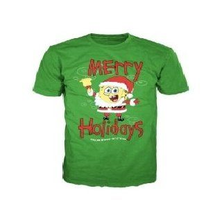 Christmas Time Spongebob Squarepants Merry Holidays Men's Green T shirt XXL Clothing