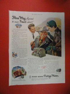 Pitney Bowes postage meter 1950 Print Ad. (woman pulling man's ear.) Original Vintage Magazine Print Art.