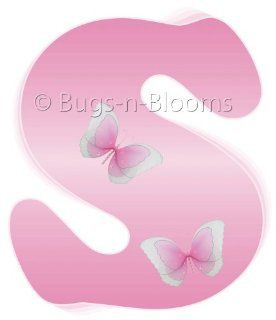 """""""s"""" Pink Butterfly Alphabet Letter Name Wall Sticker   Decal Letters for Children's, Nursery & Baby's Room Decor, Baby Name Wall Letters, Girls Bedroom Wall Letter Decorations, Child's Names. Butterflies Mural Walls Decals Baby Sh"""