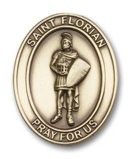 Antique Gold St. Florian Visor Clip, Patron Saint of (Patronage) Fireman, Fire Fighters, against battles, against fire, Austria, barrel makers, brewers, chimney sweeps, coopers, drowning, fire prevention, firefighters, floods, harvests, Linz Austria, Polan