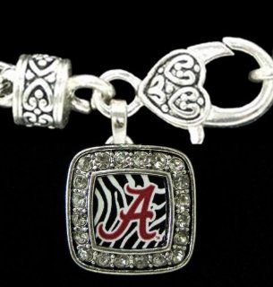 """From the Heart Alabama Crimson Tide Red """"A"""", Zebra Background, surrounded by Sparkling Crystal Rhinestone on a Heavy Silver Toned Metal Bracelet with a Beautiful Heart Lobster Clasp.Charm is s a Square Shape & approximately 1 inch long &"""