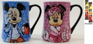 """Disney Parks Mickey & Minnie Mouse, """"Some Mornings Are Rough"""" & """"Mornings Aren't Pretty"""" Mug Set   Disney Parks Exclusive & Limited Availability + 2 Arabica Single Cup Instant Coffee Packs"""