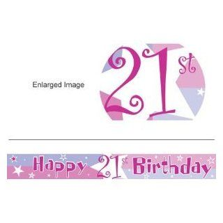 21st Birthday banner   Life Begins Happy 21st Birthday Banner   Other matching party products   birthday shimmer   pink: Toys & Games