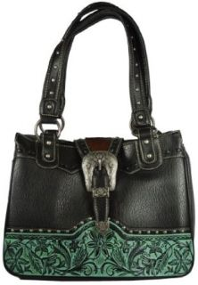 Montana West Leather Purse Tote Bag with Cow Hair and Tooled Leather Design Handbag  Available in 2 Colors (Black) Shoulder Handbags Clothing
