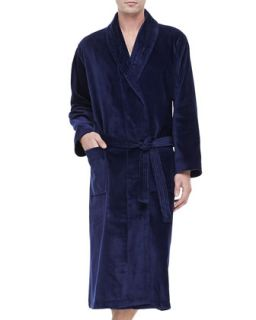 Derek Rose Terry Cloth Robe, Navy