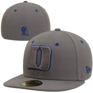 New Era Duke Blue Devils Storm Gray 59FIFTY Fitted Hat   Gray