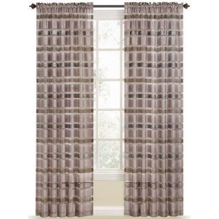 Style Selections Duran 84 in L Striped Plum Rod Pocket Window Curtain Panel