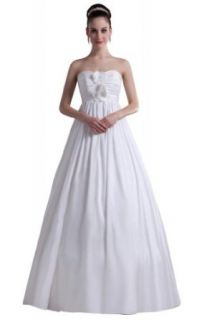 GEORGE DESIGN Brief Strapless Ruched A Line Satin Casual Wedding Dress at  Women�s Clothing store