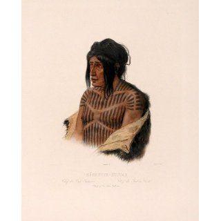 Art Manhsette Kuiuab Chief of the Cree Indians  Aquatint  Karl Bodmer