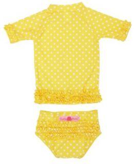 RuffleButts Girls Yellow & White Polka Dot Ruffled Rash Guard Bikini RuffleButts Clothing