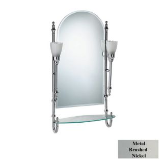Rivers Edge Cote dAzur Brushed Nickel Arch Bath Mirror with Glass Shelf and Lights