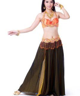 2013 New BrandArgentina Style belly dance suit costumes contain sexy bra,a waist chain,a hot Black high slit Black chiffon skirt,professional practical. Health & Personal Care