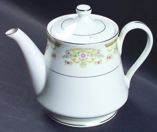 Signature Coronet Mini Teapot & Lid, Fine China Dinnerware   Floral, Inner Plati