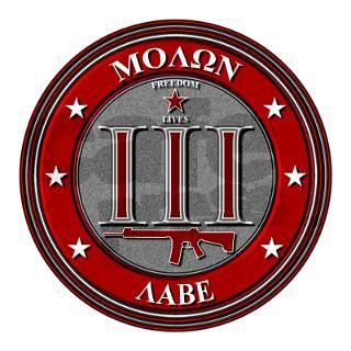 "Red Molon Labe 3"" x 3"" Square Sticker by freedomlives1776"
