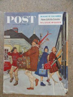The Saturday Evening Post Magazine January 14,1961 cover art, family getting on train