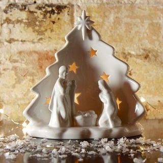 white ceramic nativity tealight holder by lisa angel homeware and gifts