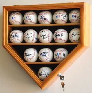 14 Baseball Display Case Cabinet Holder Wall Rack Home Plate Shaped w/ UV Protection  Lockable  Oak  Sports Related Display Cases  Sports & Outdoors