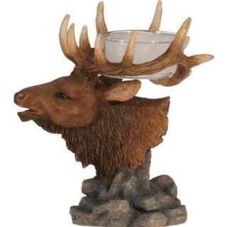 4 Inch Elk Head with Antlers Collectible Tealight Figurine Statue   Animal Candle Holder