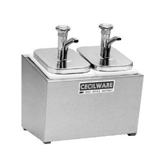 Cecilware GMC 244M 244M Metal Pumps Stainless Steel Condiment Rail w/ Two 302KCS Pumps, Jars, and Covers Kitchen & Dining