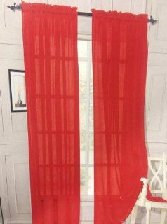 Single Panel Red Sheer Curtain   Window Treatment Sheers