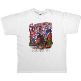 MENS T SHIRT : ASH   LARGE   Southern Heritage Clothing Company A Tradition Since 1864   Robert E Lee Rebel Flag Dixie: Clothing
