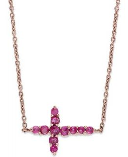 10k Rose Gold Necklace, Ruby Sideways Cross Pendant (3/8 ct. t.w.)   Necklaces   Jewelry & Watches