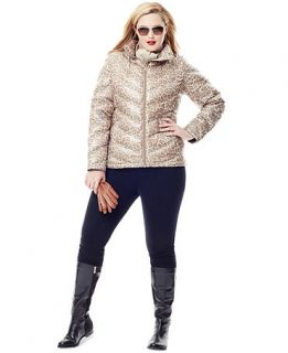 Cold Weather Style Plus Size Animal Print Lightweight Puffer Jacket Look   Women