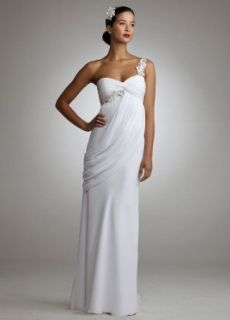 Wedding Dress Chiffon Floral Embellished One Shoulder Side Drape White, 8 at  Women�s Clothing store