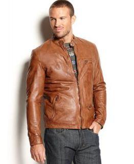 Lucky Brand Jeans Jacket, Salt Flats Leather Motorcycle Jacket   Coats & Jackets   Men