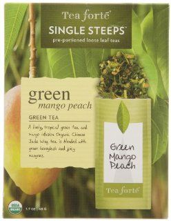 Tea Forté Mango Peach Green Tea, 12 Single Steeps : Tea Forte Loose Leaf : Grocery & Gourmet Food