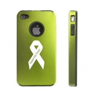 Apple iPhone 4 4S Green D6315 Aluminum & Silicone Case Cover Support Our Troops Ribbon: Cell Phones & Accessories