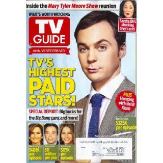Jim Parsons, The Big Bang Theory, Sofia Vergara, Jimmy Fallon, Mariska Hargitay, TV's Highest Paid Stars, Sandra Oh, Mary Tyler Moore Show, Jeanne Cooper Farewell Tribute   TV Guide Magazine [DOUBLE ISSUE] TV GUIDE MAGAZINE LLC Books