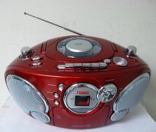 Naxa NPB 207LQ Boomboxes   Portable CD AM/FM Stereo Radio Cassette Player/Recorder (Red)   Players & Accessories