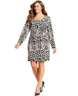 Calvin Klein Plus Size Animal Print Ruched Dress   Dresses   Plus Sizes