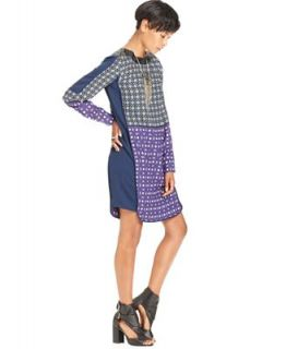 W118 by Walter Baker Dress, Long Sleeve High Neck Faux Leather Printed   Dresses   Women