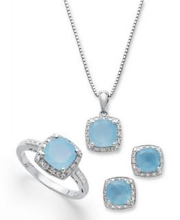Sterling Silver Jewelry Set, Cushion Cut Light Blue Agate (4 1/10 ct. t.w.) and Diamond Accent Earrings, Ring and Pendant Set   Jewelry & Watches