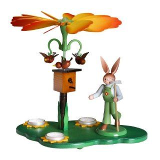 German Tea Light Candle Pyramid with Bunny Gardener and Bird House 12 Inch