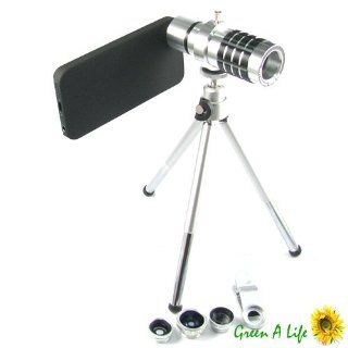 5 in 1 Set Wide + Macro + 180� Fish Eye + 2x Lens + 12x Zoom Camera for iPhone 5 Cell Phones & Accessories