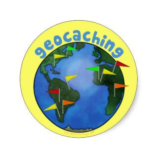 Earth With Flags Stickers Geocaching Swag Custom