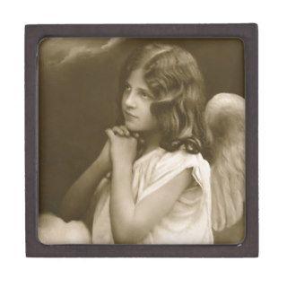 Vintage praying child angel art accessories sepia premium gift box