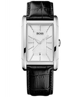Hugo Boss Watch, Mens Black Leather Strap 1512620   Watches   Jewelry & Watches