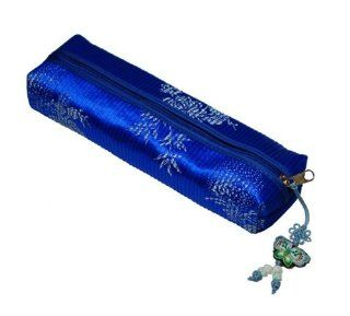 Dark Blue Color Pencil Case. Made of Korean Traditional Fabric. Butterfly Pendant. Metal Zipper Closure. Pencils. Good Quality. Durable.  Pencil Holders