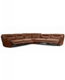Ricardo Leather Reclining Sectional Sofa, 3 Piece Power Recliner (2 Sofas and Wedge) 146W X 146D X 38H   Furniture