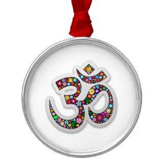 Om Ohm Aum Namaste Yoga Symbol Christmas Ornaments