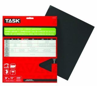 Task Tools PWD54220 9 Inch by 11 Inch Waterproof Silicon Carbide Sandpaper, 220 Grit, 5 Pack   Sandpaper Sheets