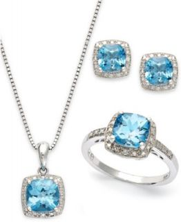 Sterling Silver Jewelry Set, Blue Topaz (7 1/2 ct. t.w.) and White Topaz Accent Jewelry Set   Necklaces   Jewelry & Watches