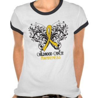 Butterfly Childhood Cancer Awareness Tee Shirts
